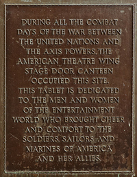 Stage Door Canteen New York plaque